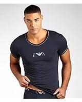 T-Shirt Armani homme Slim Fit gris col V 110810 3P715 08041