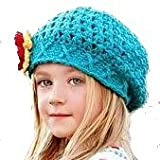 LadyMYP Handmade Knitted cap Baby cap Childrens hat Hats 100 Wool blue Hat with red yellow and further Flower