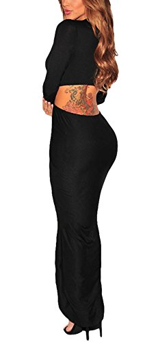 Women-Long-Sleeves-Knotted-Front-Slit-Cocktail-Maxi-Dress