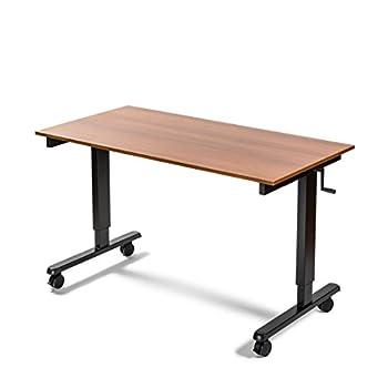 "60"" Crank Adjustable Height Standing Desk (Black Frame / Teak Top)"