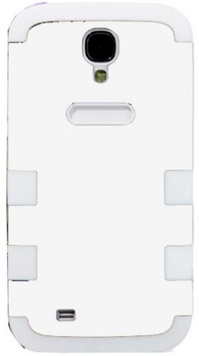 """Mylife (Tm) White - Flat Color Design (3 Piece Hybrid) Hard And Soft Case For The Samsung Galaxy S4 """"Fits Models: I9500, I9505, Sph-L720, Galaxy S Iv, Sgh-I337, Sch-I545, Sgh-M919, Sch-R970 And Galaxy S4 Lte-A Touch Phone"""" (Fitted Front And Back Solid Cov"""