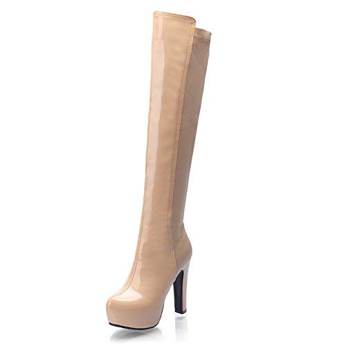 balamasa-girls-platform-chunky-heels-round-toe-khaki-patent-leather-boots-35-uk