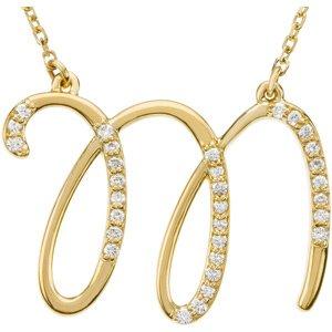 M Alphabet In Diamond 14k Yellow Gold Alphabet Initial Letter M Diamond Pendant Necklace, 17 ...
