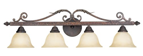 World Imports Lighting 2632-24 Olympus Tradition 4-Light Bath Light, Crackled Bronze with Silver