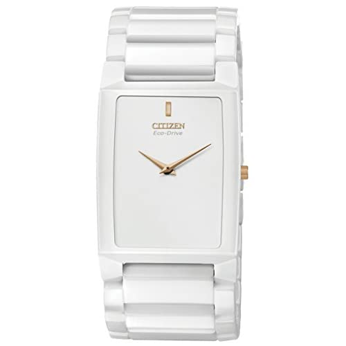 Citizen Stiletto Blade Unisex Eco Drive Watch with White Dial Analogue Display and White Ceramic Bracelet