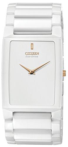 Citizen Stiletto Blade Unisex Quartz Watch with White Dial Analogue Display and White Ceramic Bracelet AR3040-56B