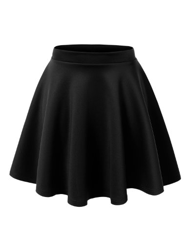 MBJ WB211 Womens Basic Versatile Stretchy Flared Skater Skirt XL BLACK