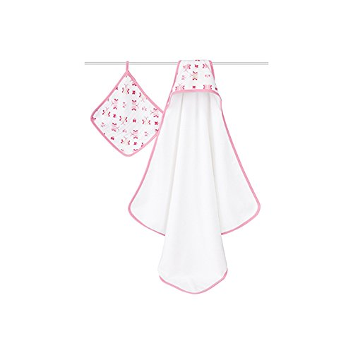 aden + anais Muslin Hooded Towel & Washcloth Set, Princess Posie