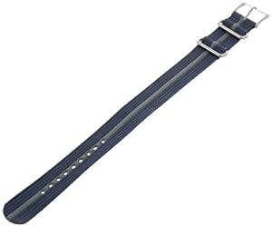 Timex T7B914 Weekender 20mm Blue/Gray Nylon Slip-Thru Watch Strap