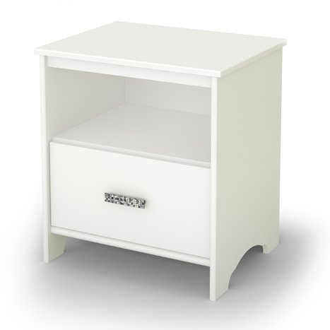 South Shore Glitter Nightstand - White