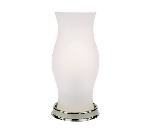 Battery Operated LED Hurricane Lamp with Frosted Glass Vase & Nickel Base