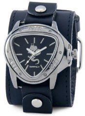 Nemesis #LBB929R Men's Silver Dragon Leather Cuff Watch