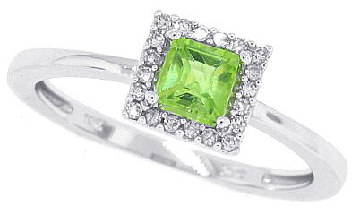 Sale 0.34ct Princess Cut Peridot Diamond Ring in 10Kt White Gold-7