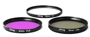 Set de 3 filtres Haute définition 55mm (filtre UV, filtre Fluorescent, filtre Polarisant) pour les reflex numériques SONY : A33, A55, A230, A290, A330, A380, A390, A450, A500, A550, A560, A670, A700, A850, A900, A35, A37, A57, A65, A77