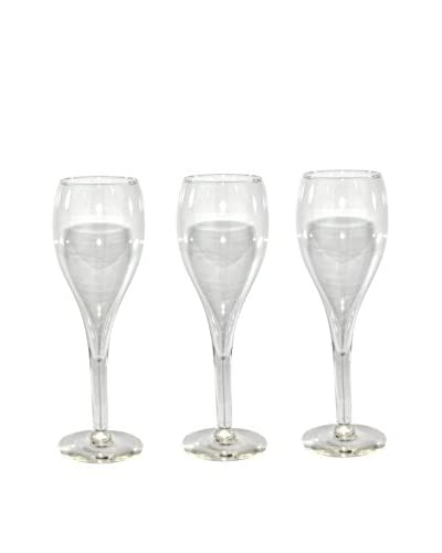 Uptown Down Set of 3 Champagne Glasses, Clear