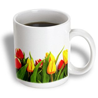 Mug_150179_2 Doreen Erhardt Floral - Lovely Row Of Red And Yellow Tulips On A White Background. - Mugs - 15Oz Mug