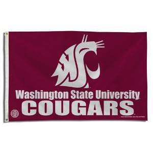 NCAA Washington State Cougars 3-Foot by 5-Foot Banner Flag