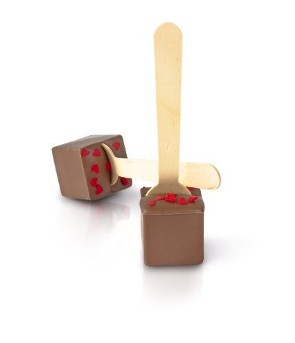 Hot Chocolate On A Spoon - Belgian Milk Chocolate With Red Sugar Hearts (4 Pack)