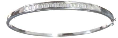 Modern 925 Sterling Silver Ladies Bangle with Cubic Zirconia/CZ - 6cm*3mm, 10 Grams