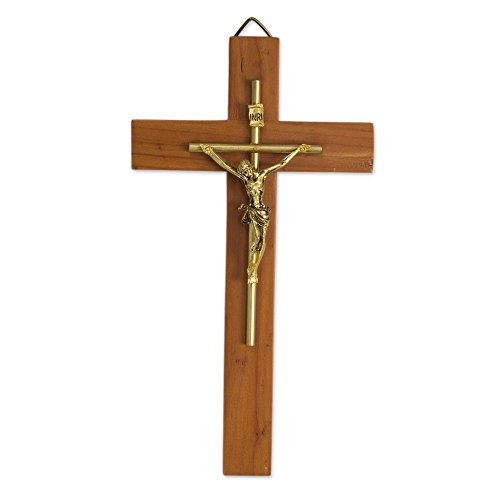 NOVICA Artisan Crafted Cedar Wood and Metal Hanging Wall Cross, Brown, 'Jesus Our Savior'