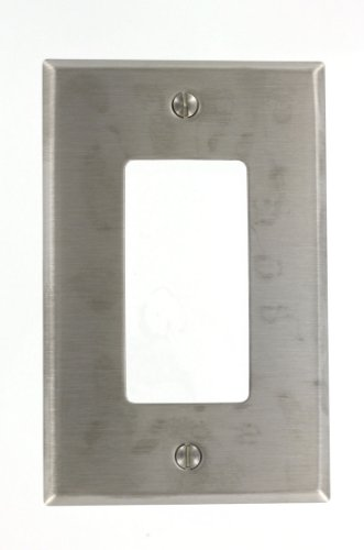 Leviton SSJ26-40 1-Gang, 1-Decora Stainless Steel, Midway Size Wallplate, Stainless Steel