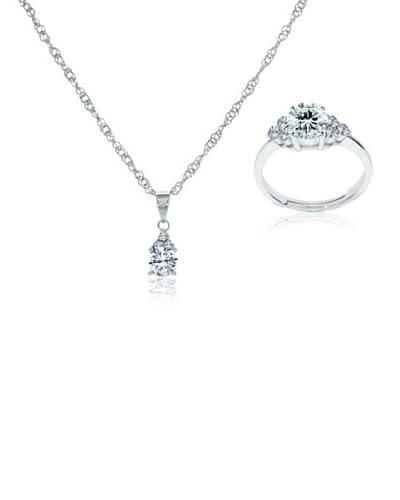 Diamond Style Set collana e anello [Argentato]