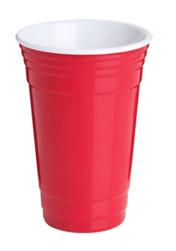 Double Walled Insulated Reusable Party Cups-16 Oz (Red)