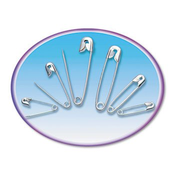Safety Pins Nickel-Plated Steel Assorted Sizes 50/Pack