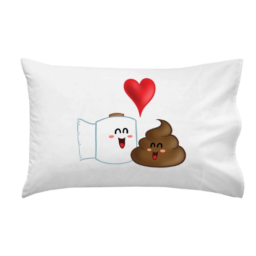 "Funny Poop With Toilet Paper ""Best Friends"" Colorful - Pillow Case Single Pillowcase front-1001055"