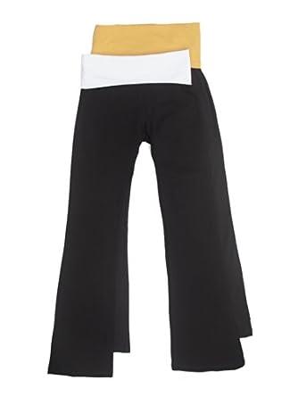 2 Pack Popular Basic Women's Fold Down Waist Yoga Pants Small White, Mustard