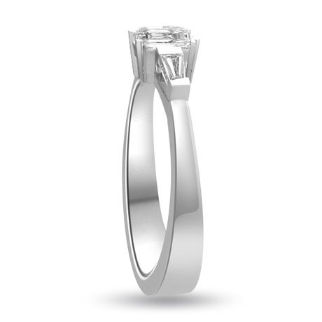 0.60 carat 3 Diamond Trilogy Promise Ring for Women. H/SI1 Emerald Cut Diamond in 18ct White Gold