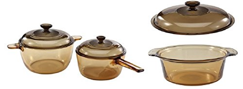 Visions 6 Piece Bundle: 2.5 L Round Stew with Lid, 1.5L Sauce with Lid (Four Piece Set) , and 3.5L Dutch Oven with Lid (Visions Cookware Lid compare prices)