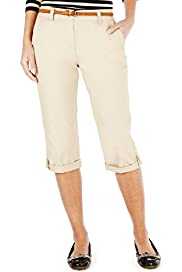 Pure Cotton Cropped Cargo Trousers