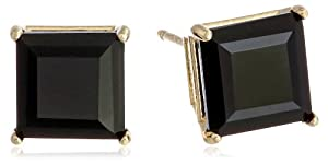 10k Yellow Gold Princess Square Black Onyx Earrings Studs (6mm, 2.20 cttw)