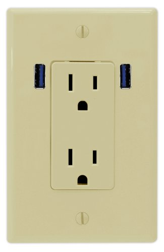 U-Socket Ace-8167 15-Amp Ac Decor Duplex Wall Outlet With Built-In Usb Charger Ports, Ivory