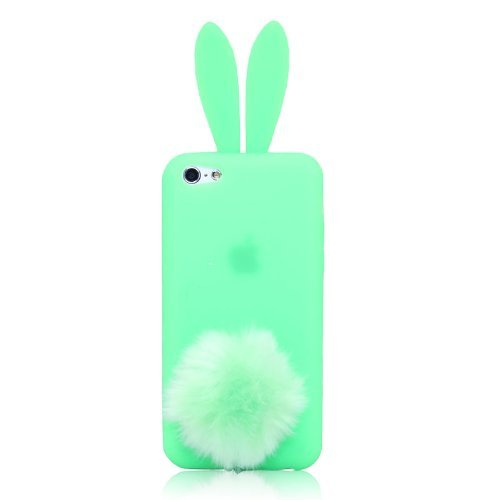 New Case for Apple iphone 5C Cute Lovely Bunny Rabbit With Furry Tail Silicone Cover-Green(Gift 2 PCS Cartoon Sticker) (Iphone 5c Protective Case Cute compare prices)