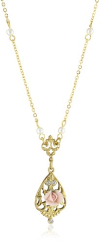 1928 Jewelry Vintage-Inspired Gold-Tone and Porcelain Rose Necklace, 17