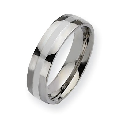 Stainless Steel Silver Inlay 6mm Polished Band, Size 11.5