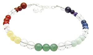 7 Chakras Energy Balancing Gemstone Adjustable Anklet, 9