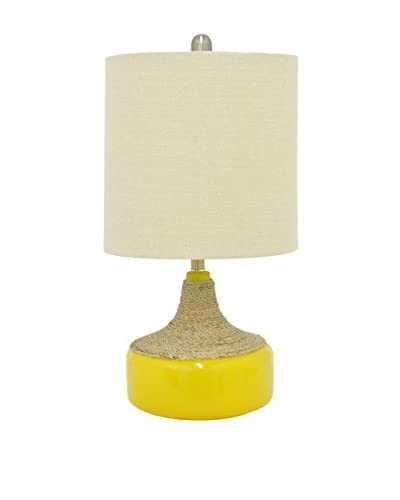 Three Hands Glass 1-Light Table Lamp, Yellow As You See