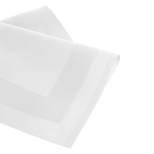 Damast Tischdecke Größe wählbar - Serviette Gastro Edition Weiss 1 x Serviette 50 x 50 cm mit Atlaskante Mundserviette aus 100 % Baumwolle