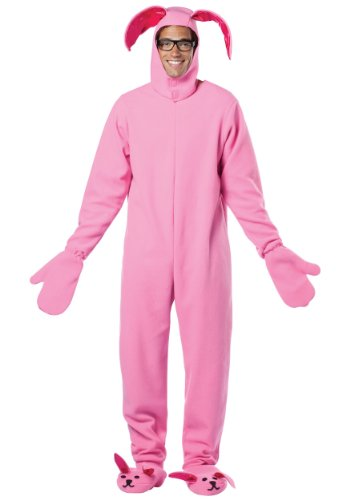 Rasta Imposta Mens Christmas Story Bunny Suit Pink Theme Party Fancy Costume