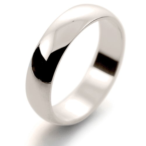 18ct White Gold Wedding Ring Extra Light Weight D Shape - 5mm