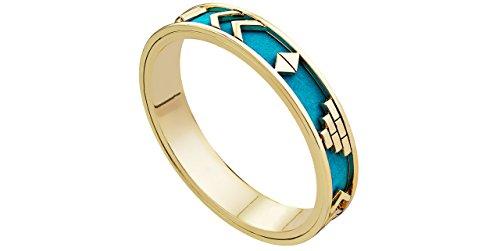 House of Harlow 1960 cinturino a cerchio, motivo azteco, colore: doratura liquida oro 14 carati, Ø65mm