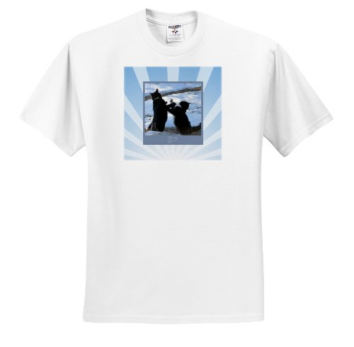 ts_180844 Beverly Turner Cat Photography - Two Black, White Kitty Cats in Boxing Match with Blue Frame, Boxing Gloves - T-Shirts