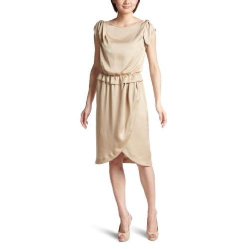 (イラン イラン)YLANG YLANG フルイドサテン ワンピースドレス Y131510  BEIGE M
