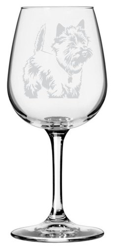 Cairn Terrier Dog Themed Etched All Purpose 12.75oz Libbey Wine Glass