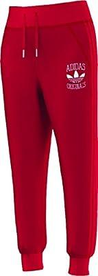 Adidas Originals Women's Slim Cuffed Jogger Track Pants-Red
