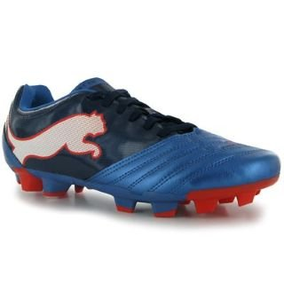 Puma PowerCat 4.12 Firm Ground Mens Football Boots Blue/Black/Wht 9 UK UK