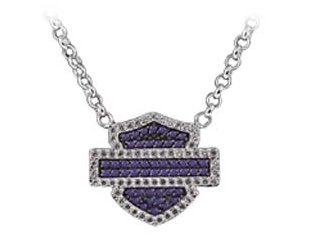 Harley-Davidson® Stamper Black Hills Gold Pendant Necklace. .925 Sterling Silver. Purple and White Zirconia. NCR0006S